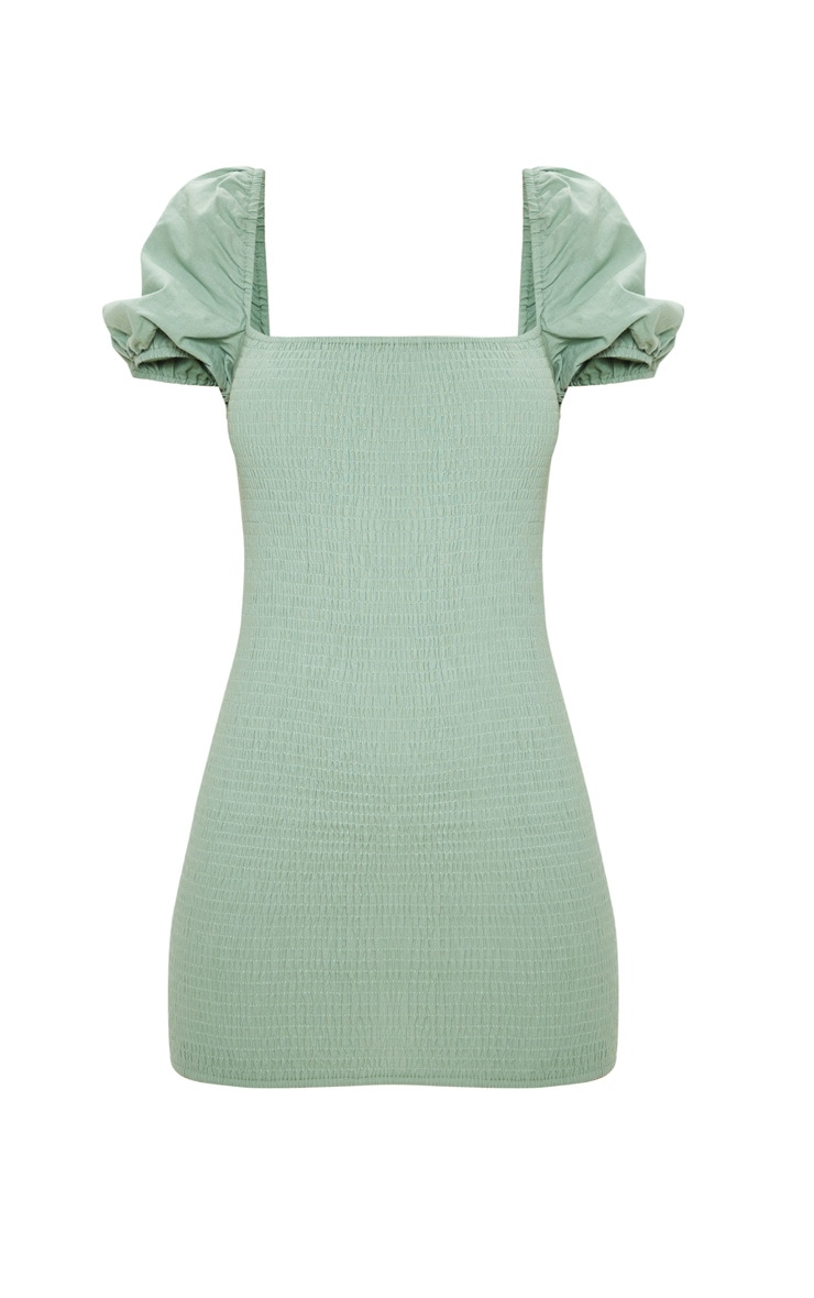 Sage Green Puff Sleeve Square Neck Shirred Bodycon Dress 3