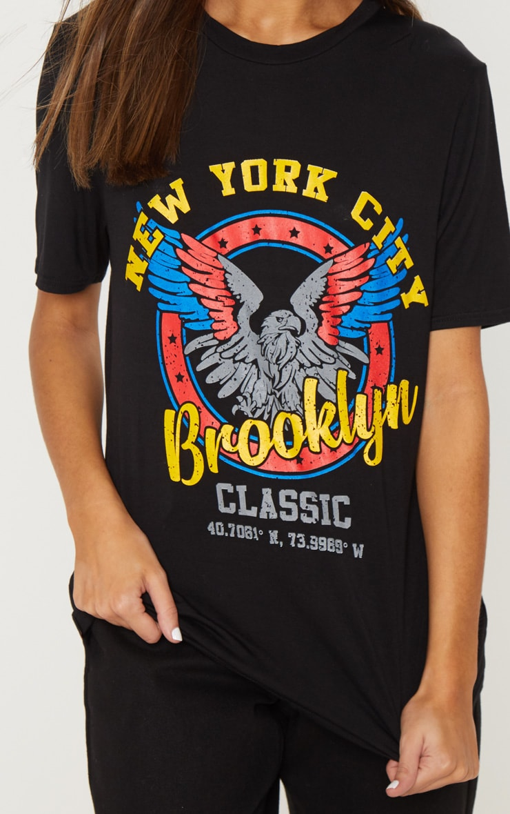 Black Brooklyn Printed Oversized T shirt 5