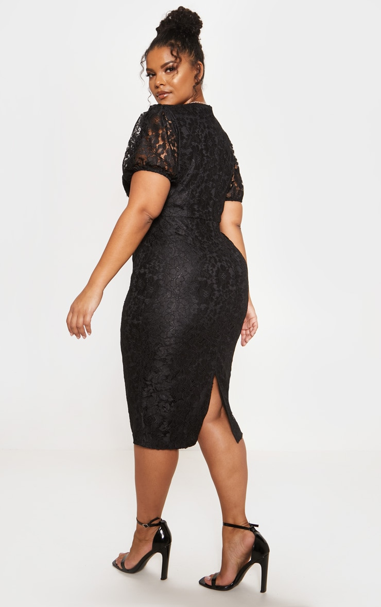 Black Lace Puff Sleeve Midi Dress 3