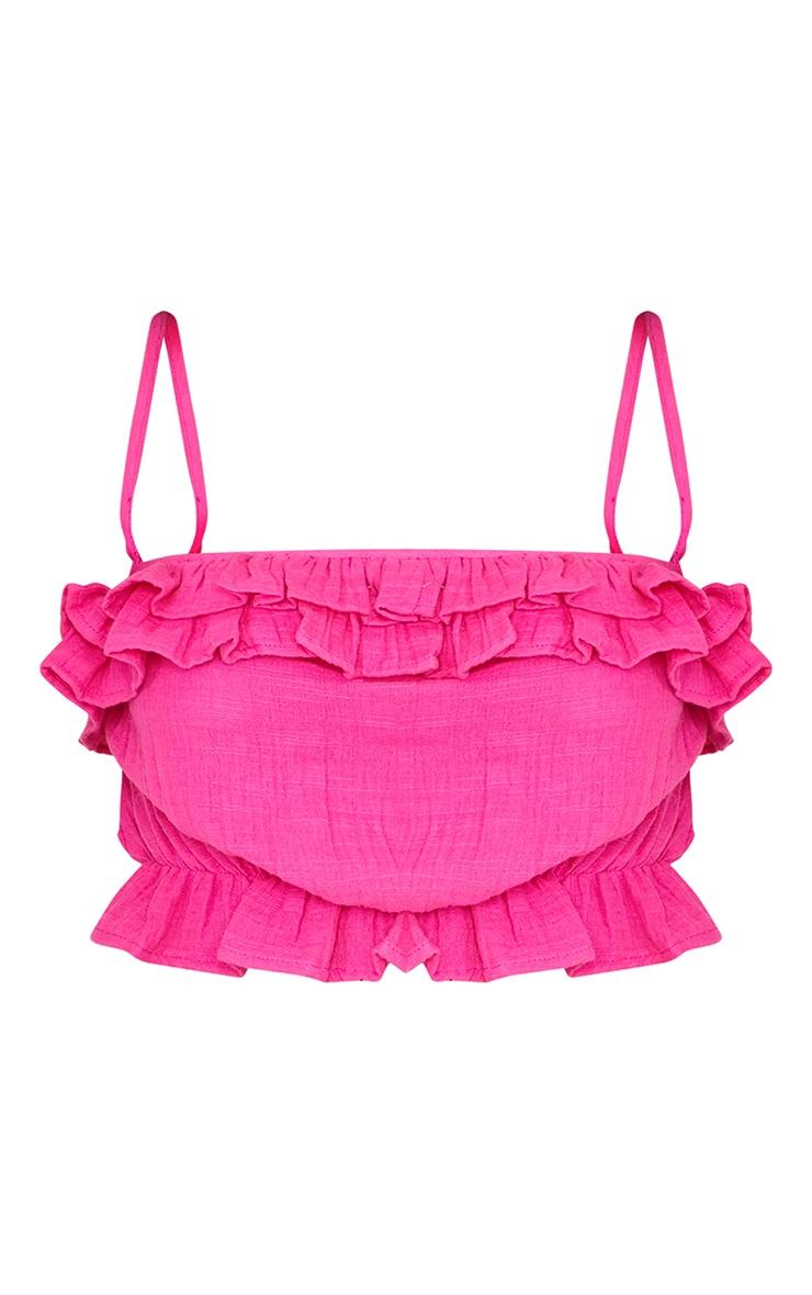 Pink Linen Look Ruffle Strappy Tie Crop Top 5