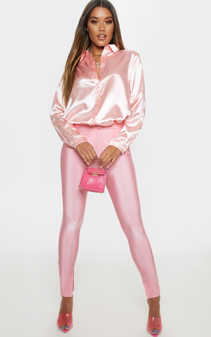 Pink Oversized Satin Shirt 4