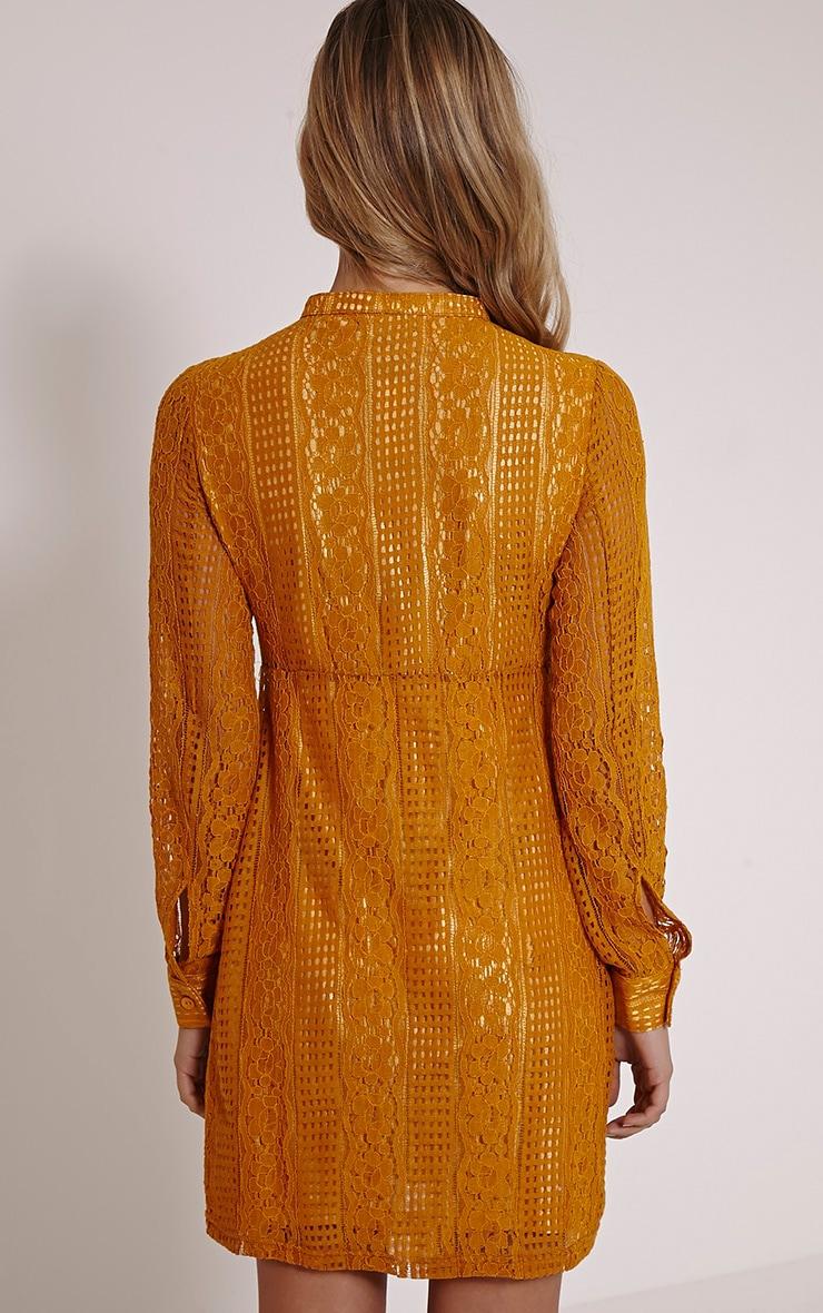 Maisi Mustard Long Sleeve Lace Shirt Dress 2