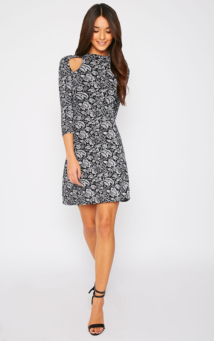 Diara Monochrome Floral Cut Out Turtle Neck Swing Dress 4