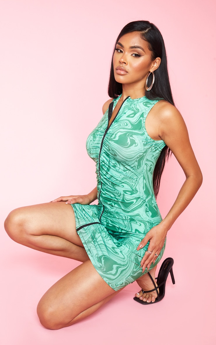 Green Marble Print Slinky Ruched Zip Through Racer Neck Bodycon Dress 1
