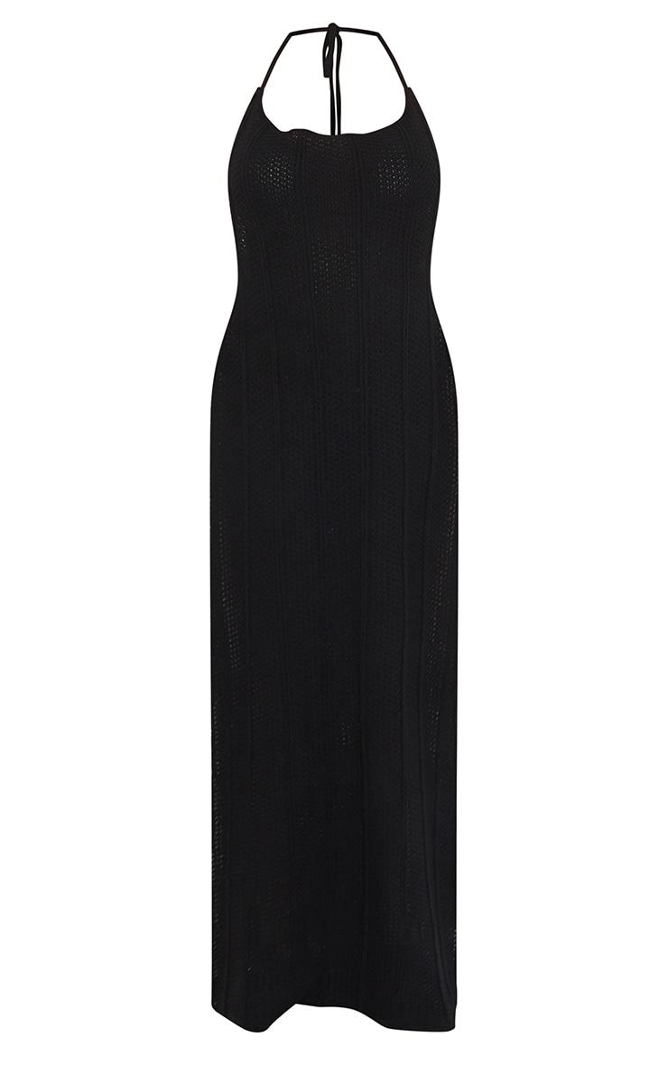 Black Crochet Halter Neck Side Split Maxi Dress 5