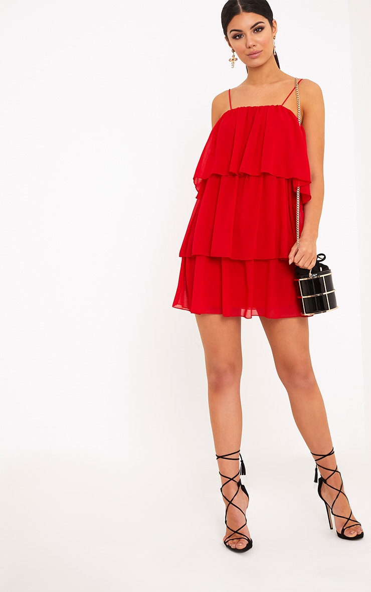 Indira Red Chiffon Frill Layer Shift Dress 4