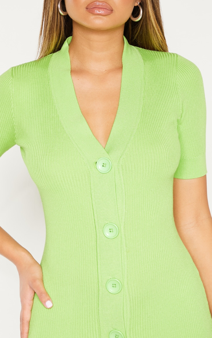 Lime V Neck Knitted Contrast Dress 5