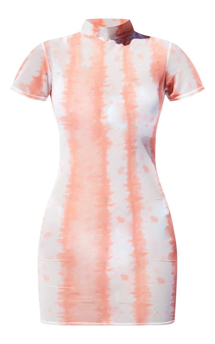 Orange Tie Dye Mesh High Neck Short Sleeve Bodycon Dress 5