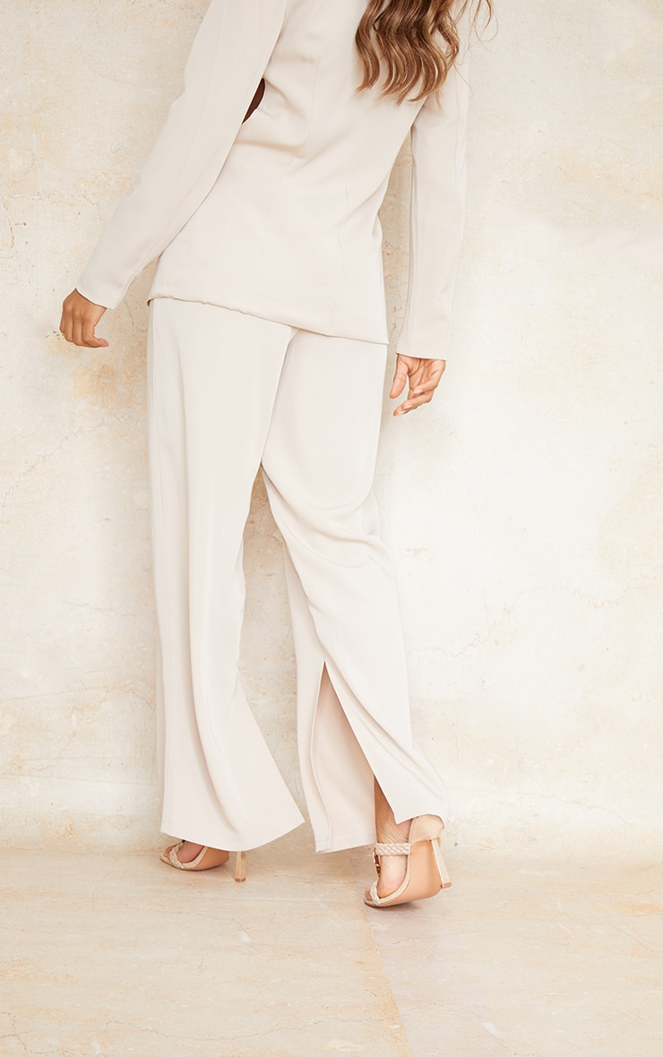 Stone Woven Tailored Straight Leg Trousers 3