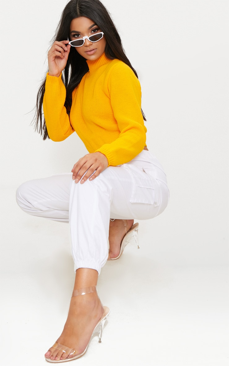 Bright Yellow High Neck Soft Cropped Jumper 4
