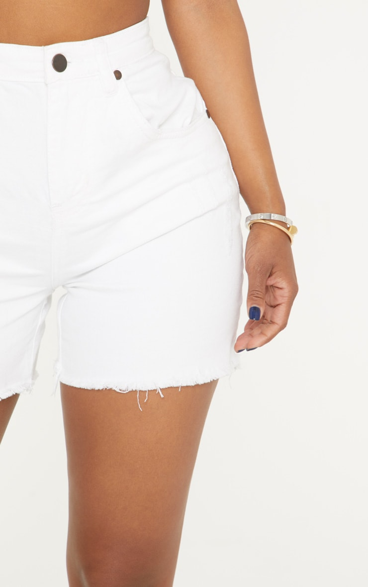 Shape White High Waisted Denim Shorts 6