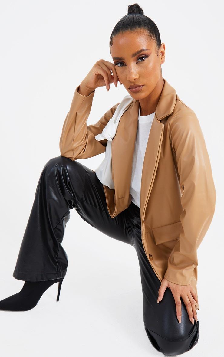 Tan PU Pocket Look Double Button Blazer 3