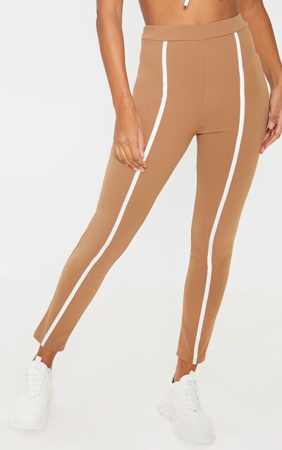 Camel Contrast Binding Straight Leg Trouser