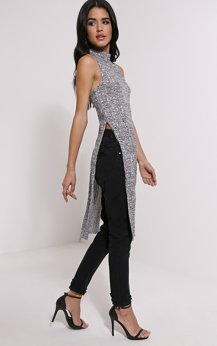 Krishna Grey Jacquard Knitted Side Split Top 1