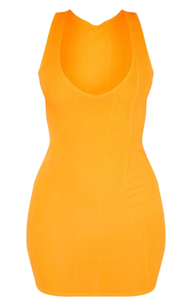 Tangerine Bandage Rib Sleeveless Bodycon Dress 3