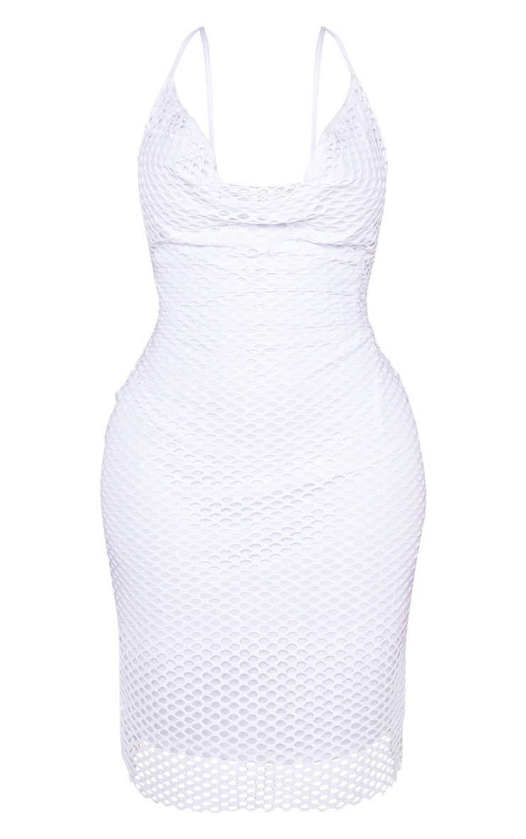 Shape White Fishnet Cowl Bodycon Dress 3