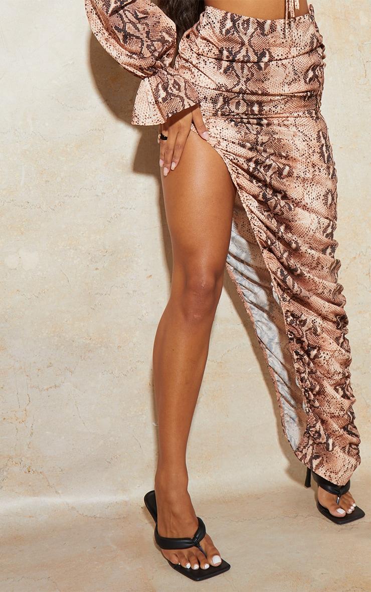 Nude Snake Print Woven Ruched Side Detail Split Leg Midaxi Skirt 4