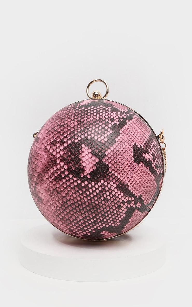 Pink Snake Sphere Mini Clutch Bag 4