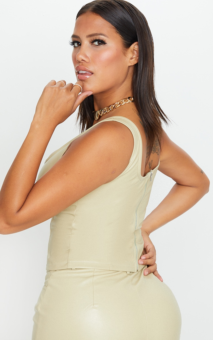 Shape Sage Green Faux Leather Cup Detail Crop Top 2