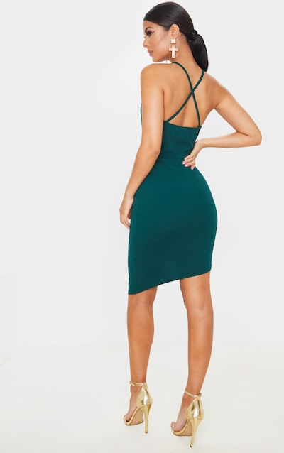 Emerald Green Strappy Plunge Bodycon Dress