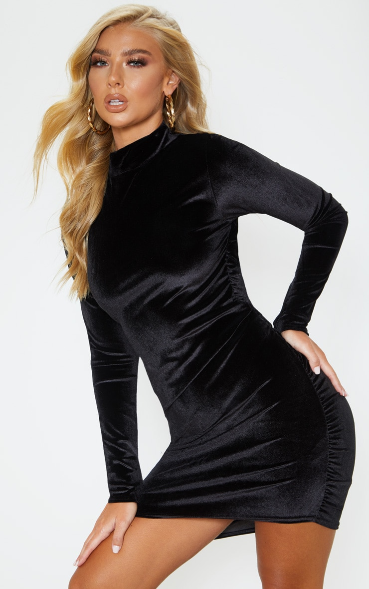Black Velvet Ruched Long Sleeve Bodycon Dress 2