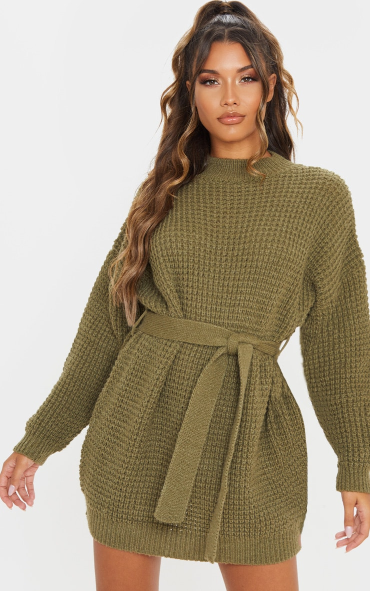Khaki Soft Touch Belted Knitted Jumper Dress 1