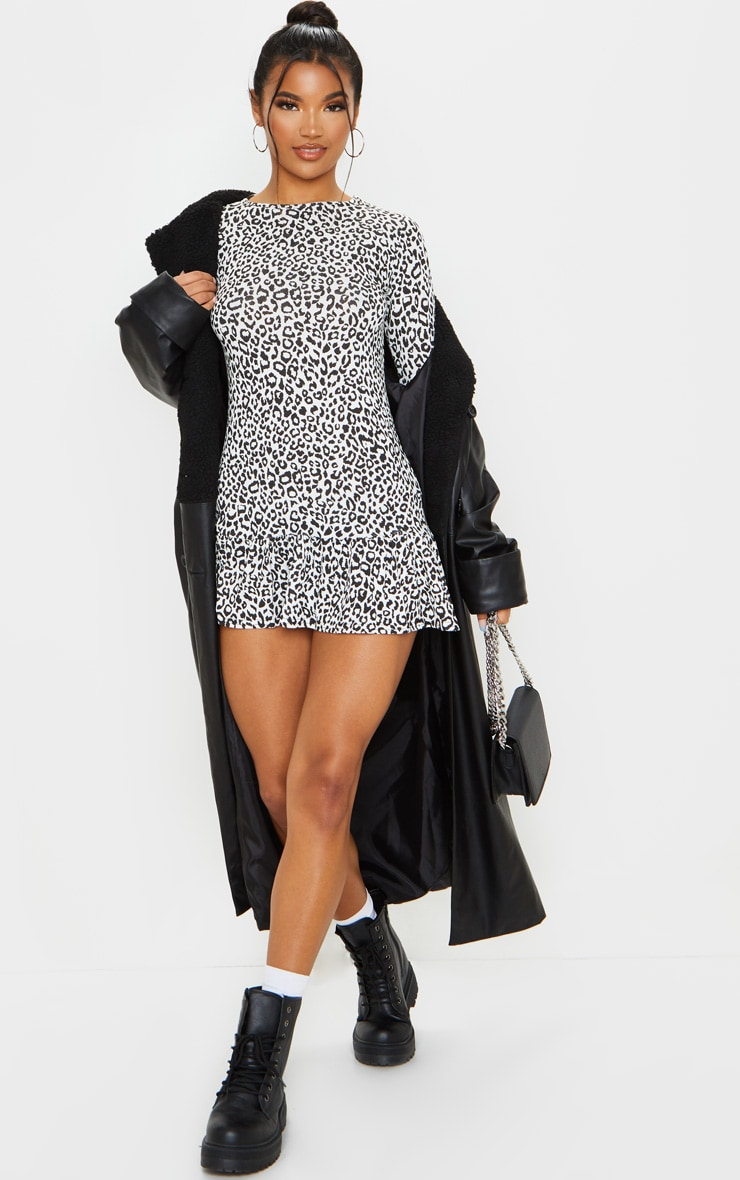 Monochrome Leopard Print Long Sleeve Frill Hem Shift Dress 3