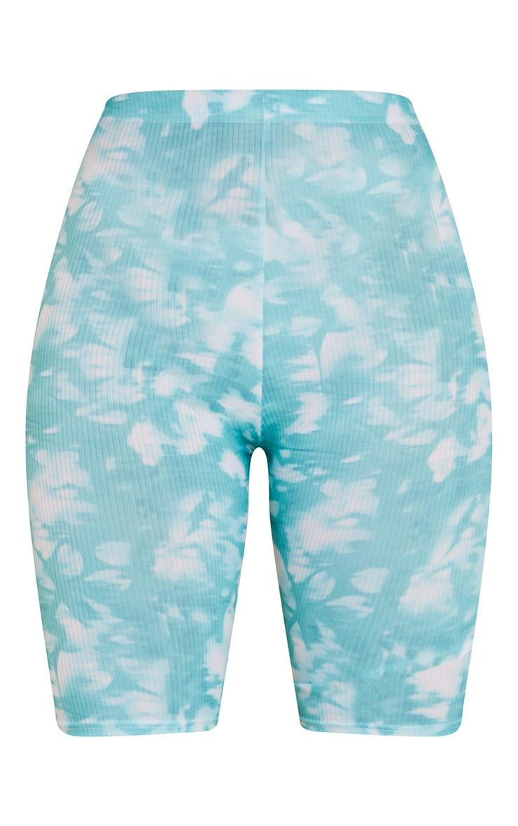 Teal Tie Dye Rib Cycle Shorts 5