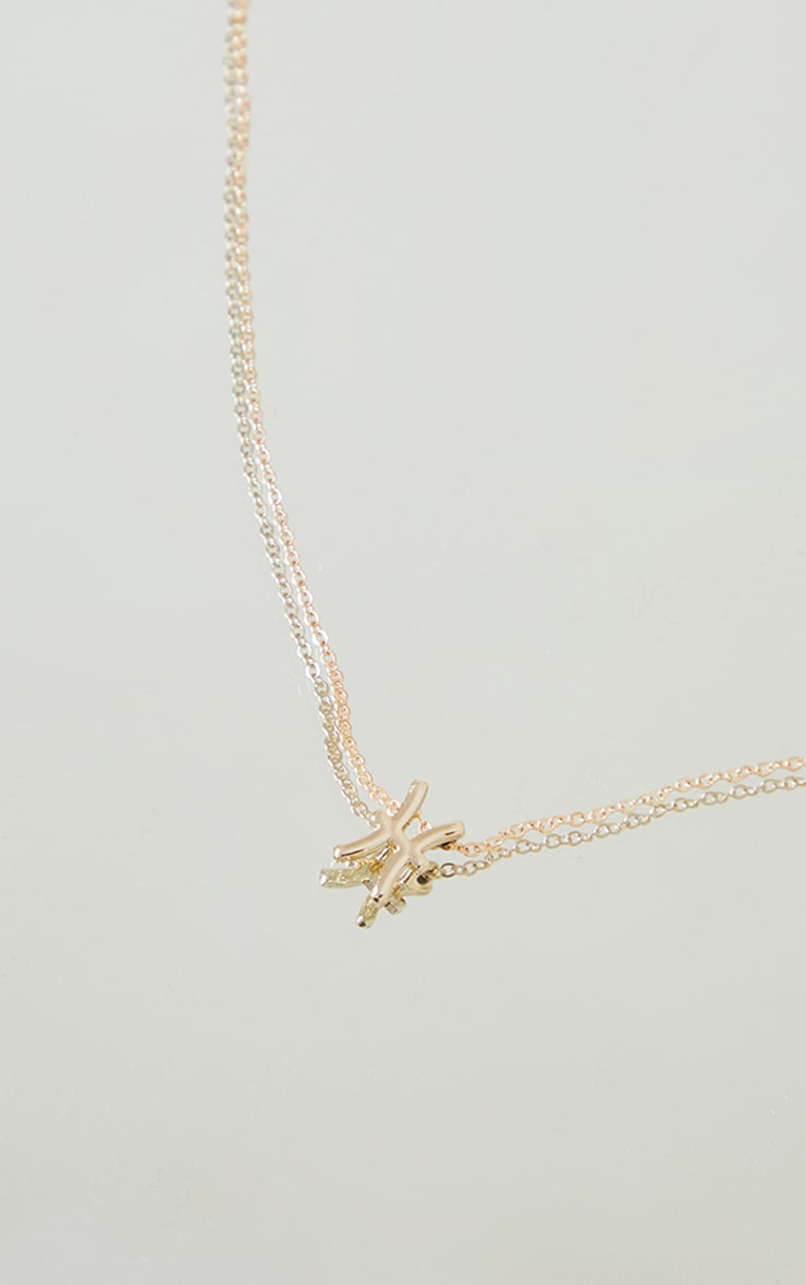 Gold Pisces Star Sign Necklace 3