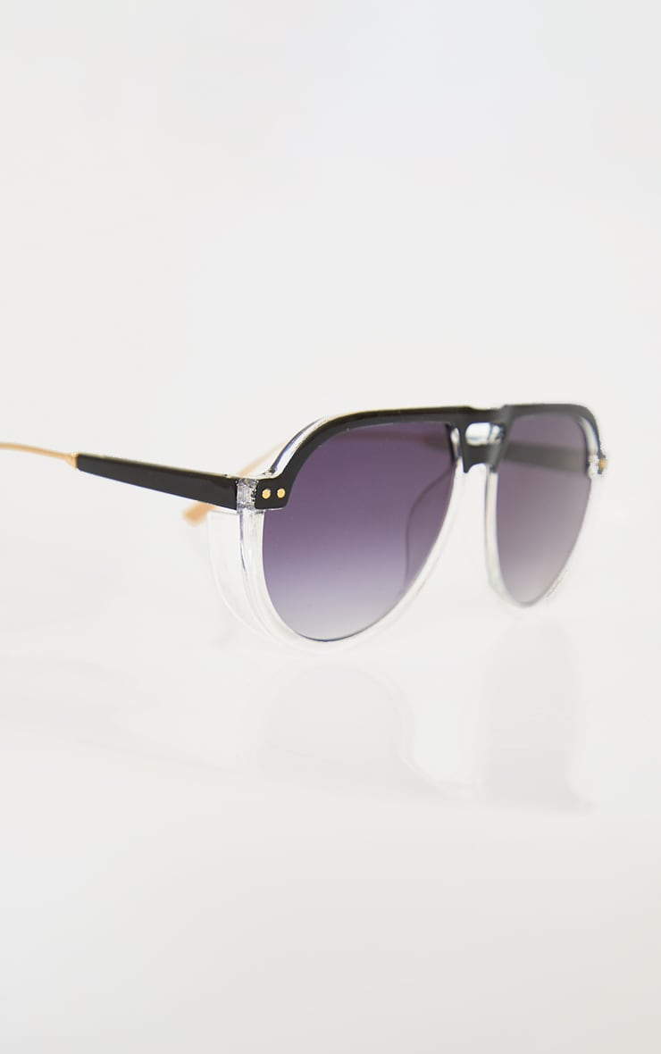 Black Ombre Double Bar Round Frame Sunglasses 2