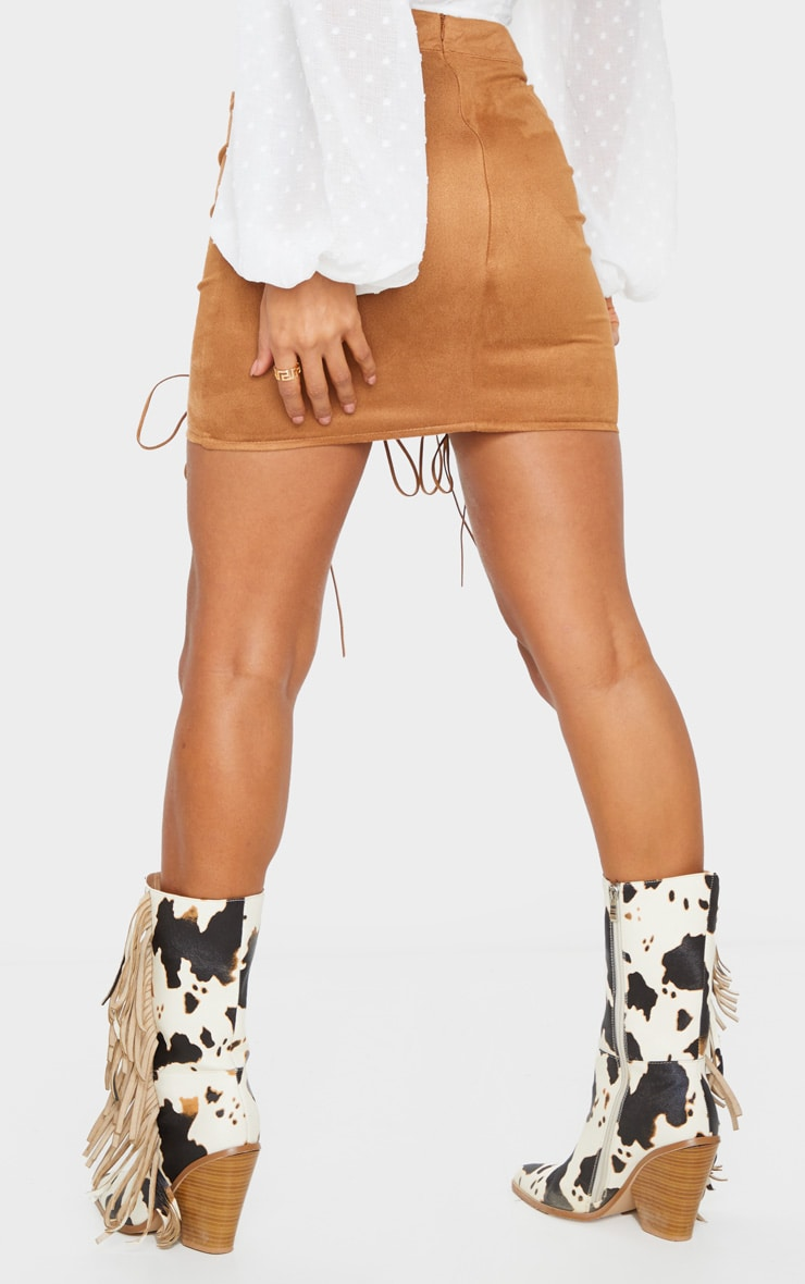 Tan Faux Suede Lace Up Detail Mini Skirt 3