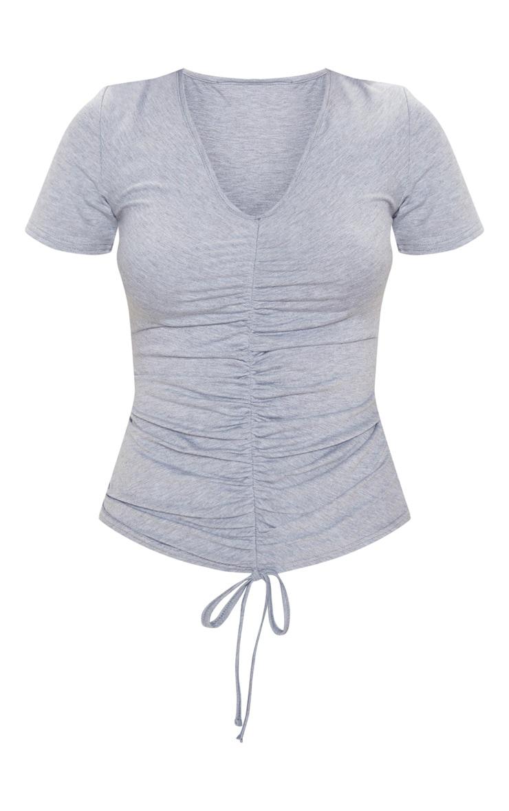 Top manches courtes en jersey gris froncé  3