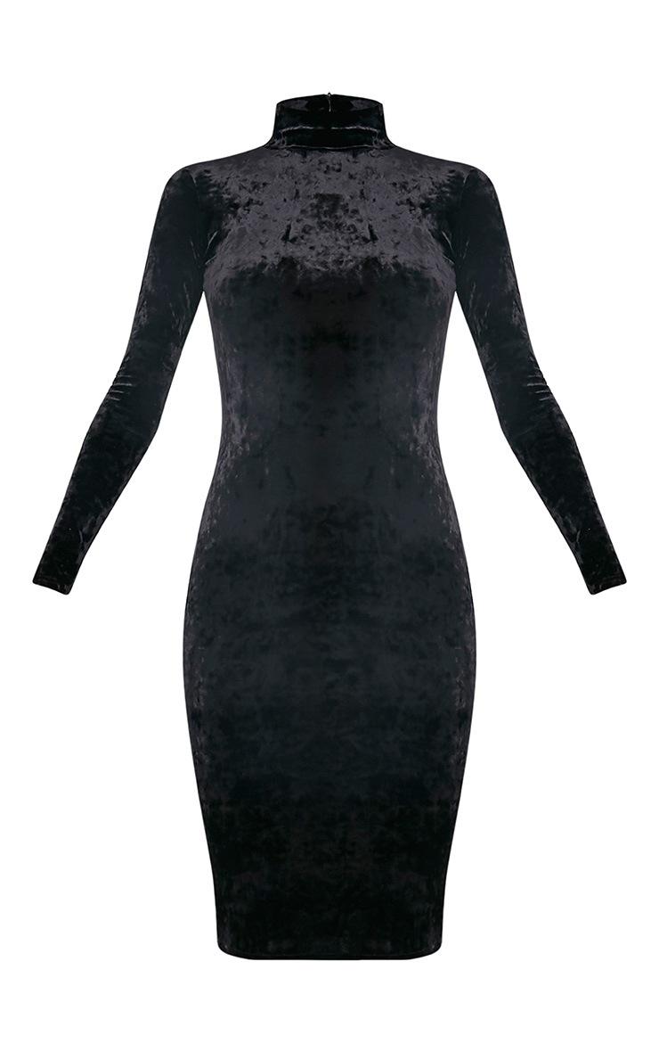 Amlia Black Velvet High Neck Midi Dress 3