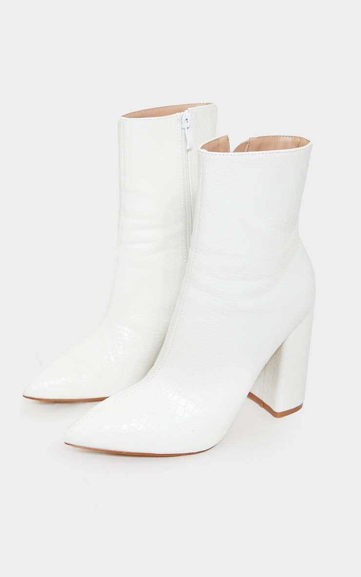 White Faux Snake Ankle Boot 4