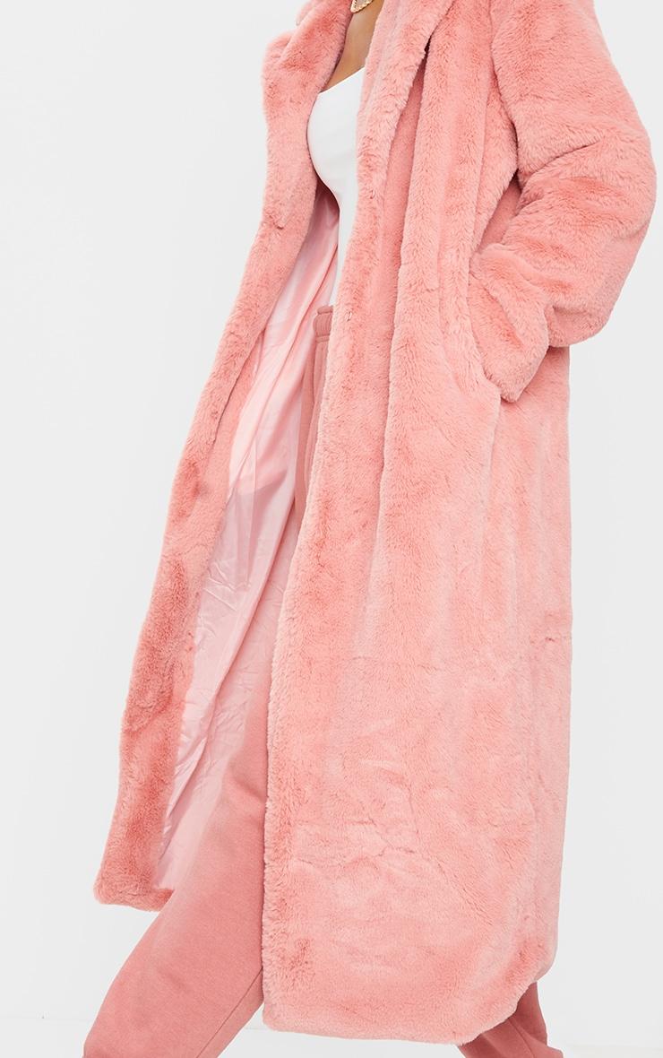 Pink Maxi Faux Fur Coat 4