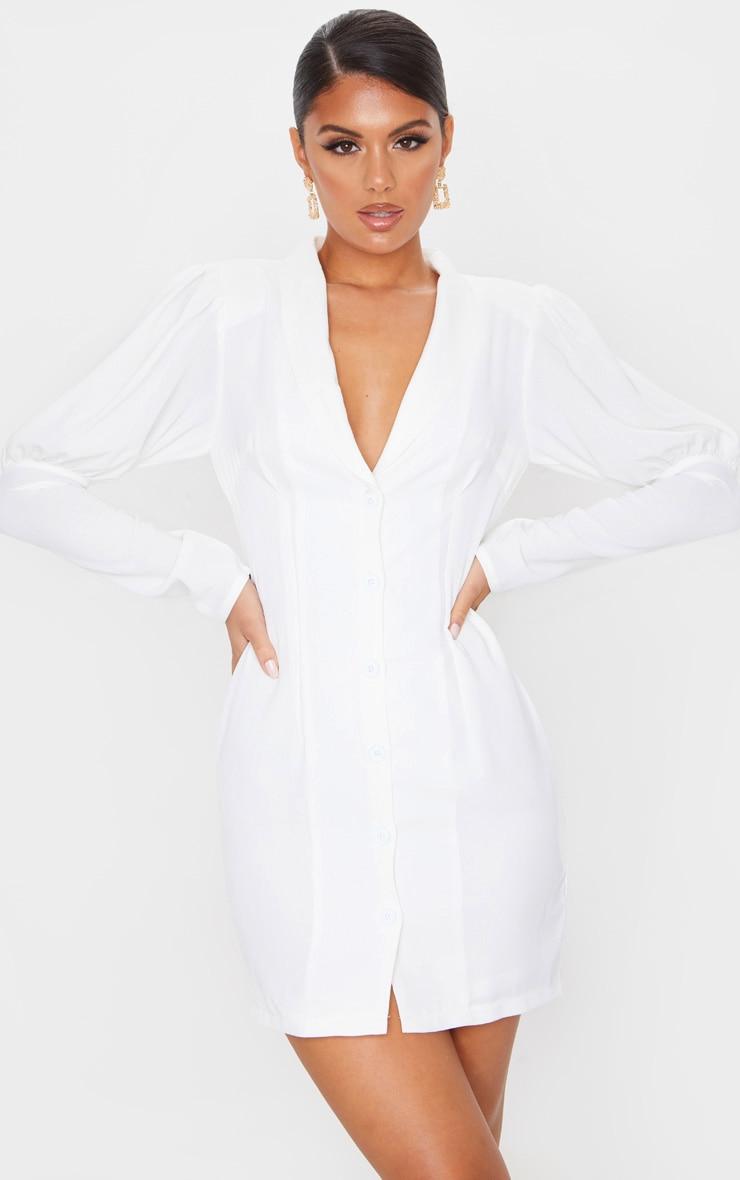 White Woven Puff Shoulder Button Down Blazer Dress 3