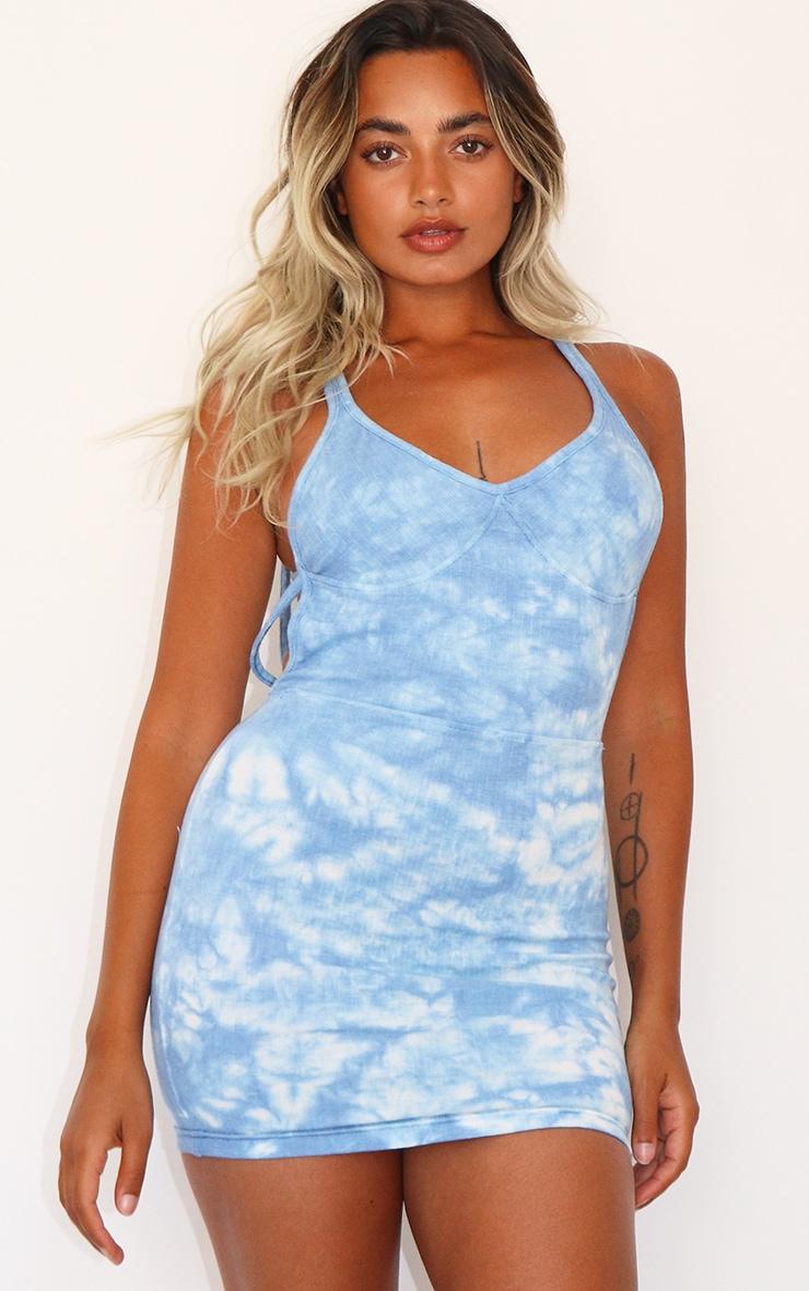 Petite Blue Ribbed Tie Dye Cup Detail Dress 1