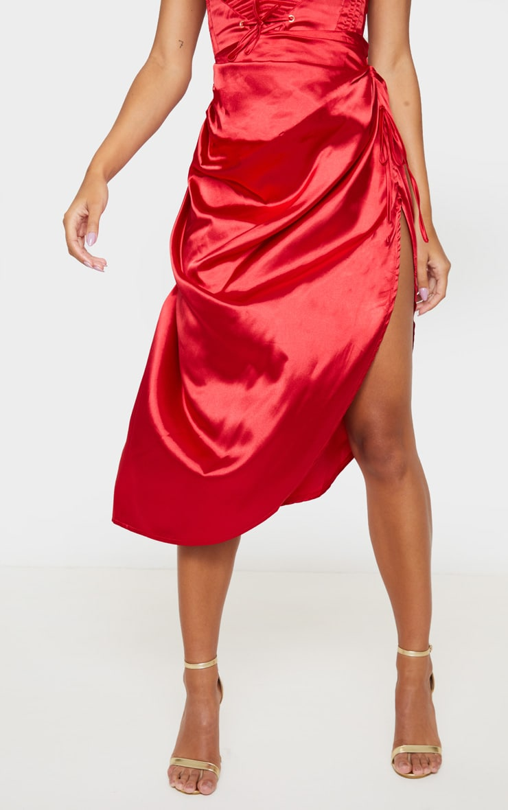 Red Ruched Tie Side Midi Skirt 2