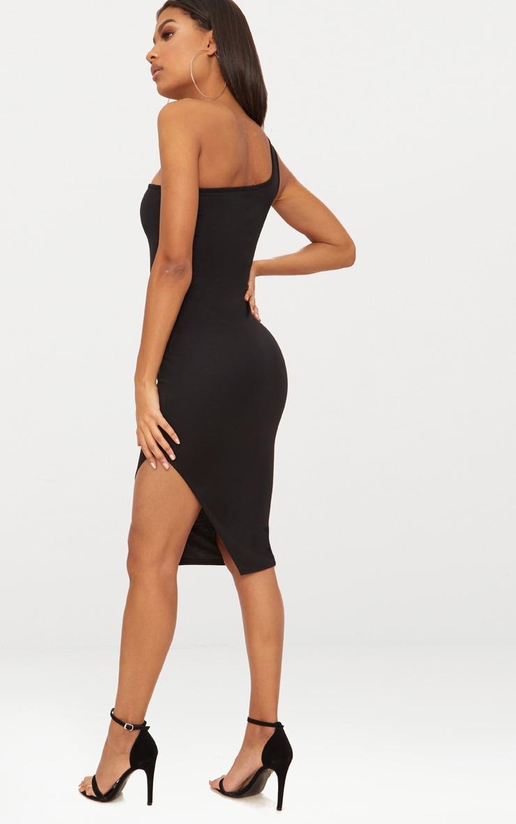 Black One Shoulder Midi Dress 2