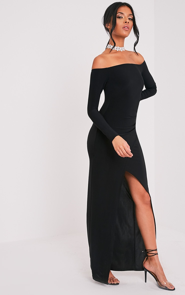 Sharlotte Black Slinky Wrap Bardot Maxi Dress 4