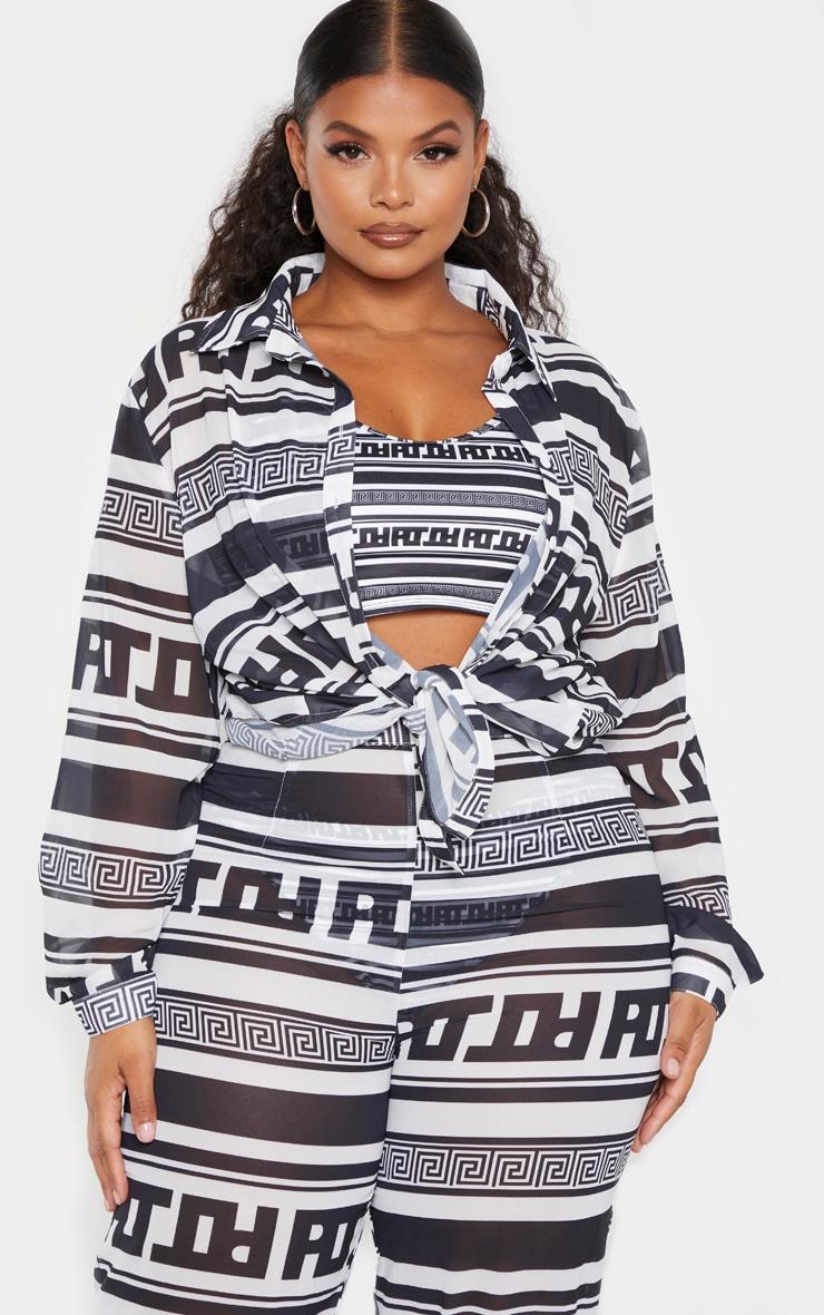 PLT Plus Monochrome Greek Stripe Oversized Beach Shirt 1