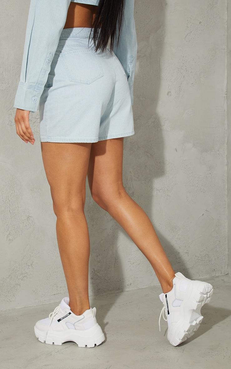 Light Blue Wash Denim Mom Shorts 3
