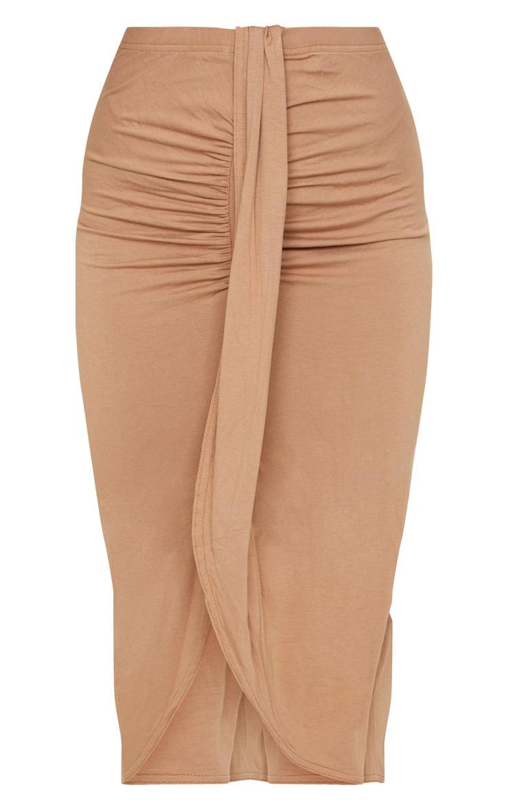 Camel Jersey Panel Front Midi Skirt 5
