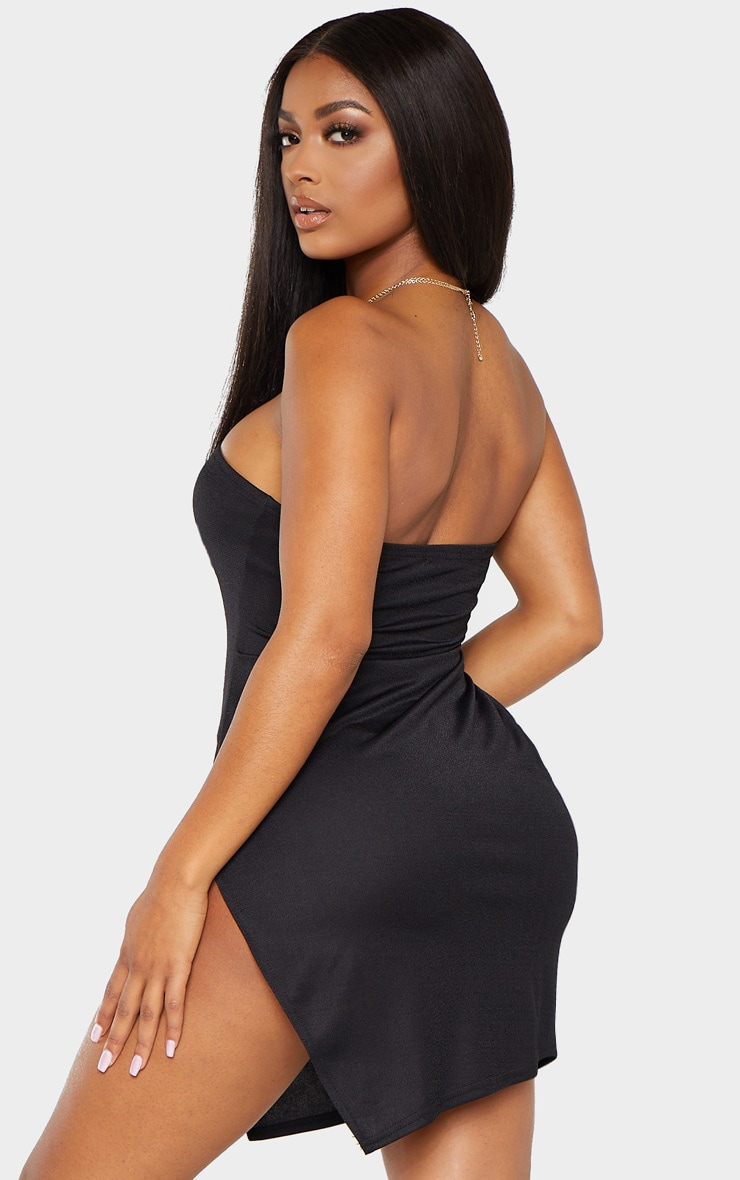 Shape Black Bandeau Split Bodycon Dress 2