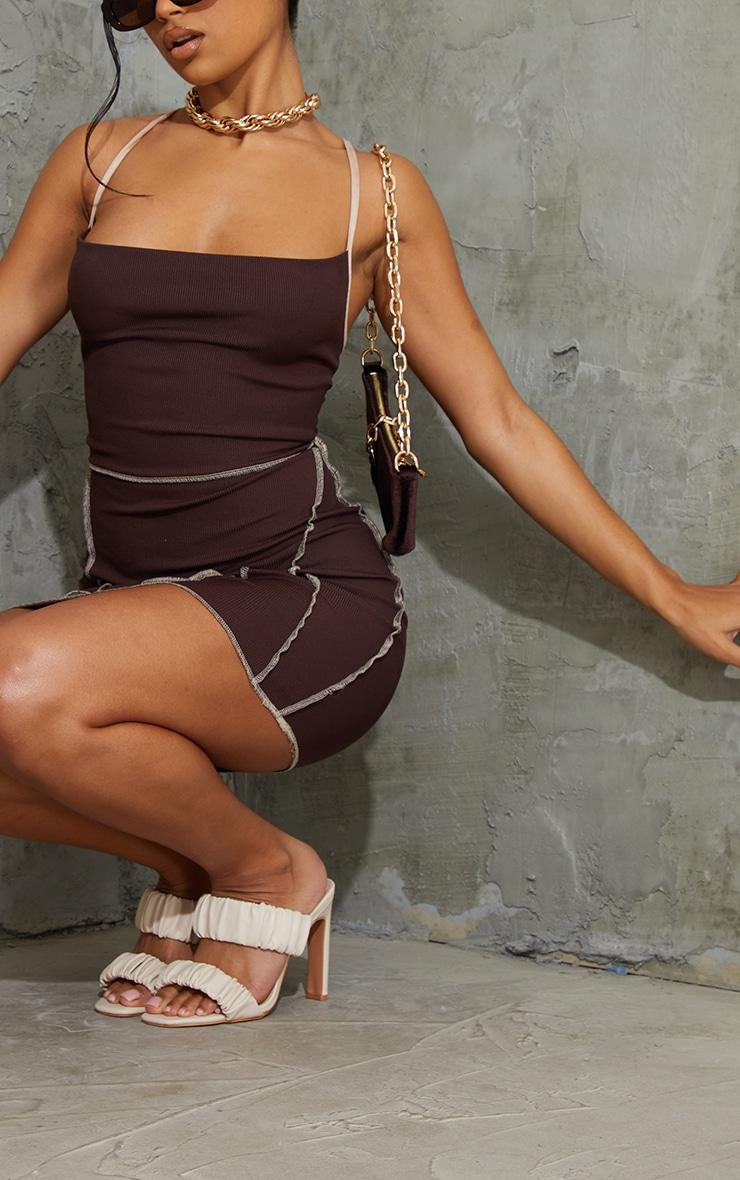 Chocolate Overlock Stitch Lace Up Back Bodycon Dress 4