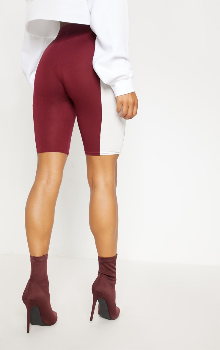 Maroon Contrast Panel Cycle Short 4
