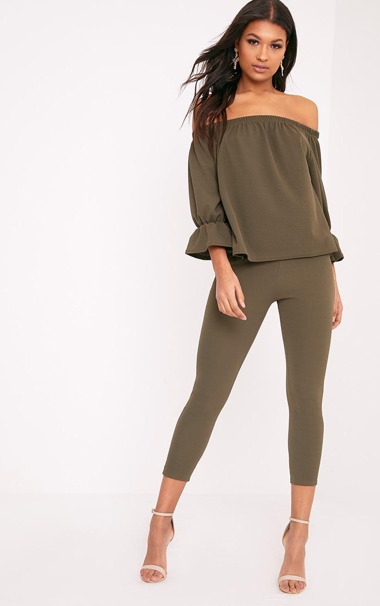 Evalyn Khaki Cropped Trousers 1
