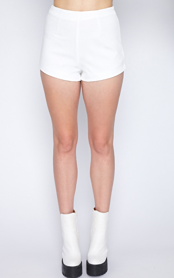 Peggy White Textured Hotpant-8 6