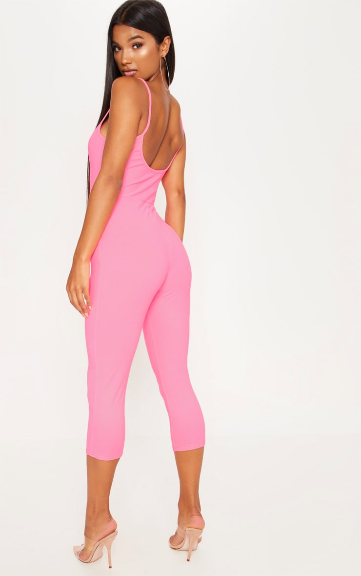 Neon Pink Strappy Unitard 2