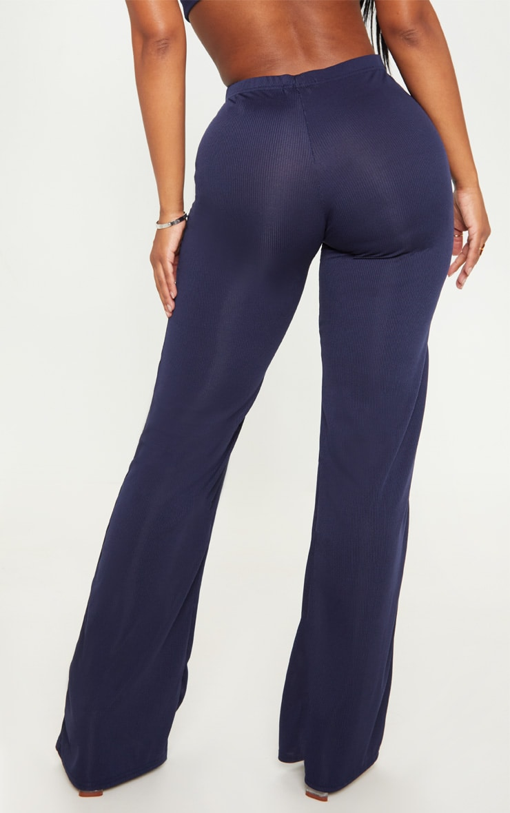 Shape Navy Ribbed Wide Leg Trousers 4